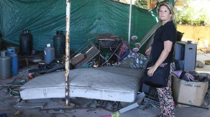 L'interno della baracca dove il 27 aprile 2016 è stata trovata morta la piccola Samantha