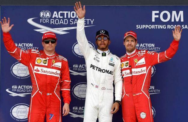 La griglia di partenza del Gp d'Inghilterra: Hamilton in pole, Raikkonen secondo, Vettel terzo (Afp)