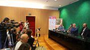 Malkovich, Mercelli e Cabaletto durante la conferenza stampa all'aeroporto di Bologna (foto Schicchi)