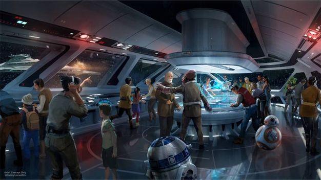 Un disegno che immagina gli ambienti del futuro Star Wars Hotel – Foto: Disney/Lucasfilm