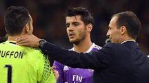 Alvaro Morata con Buffon e Allegri (Ansa)