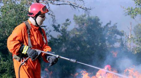 L'intervento dei vigili del fuoco per evitare che le fiamme si propaghino ulteriormente