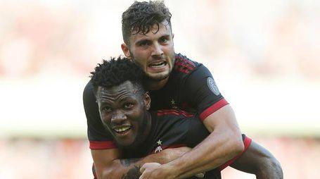 Kessié esulta dopo il gol nell'amichevole Milan-Bayern Monaco (Lapresse)
