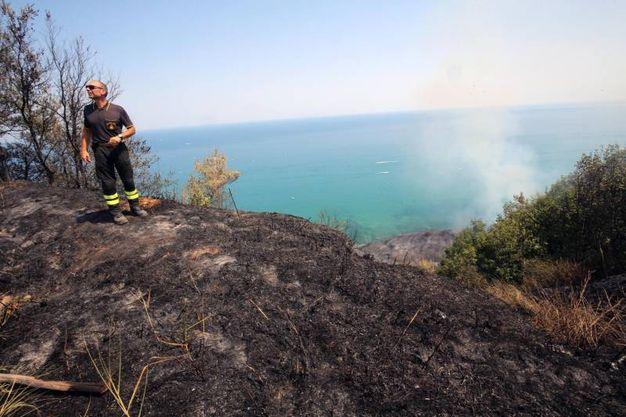 L'incendio si è sviluppato lungo tutta la falesia, dalla Vallugola fino a dopo Fiorenzuola (Fotoprint)
