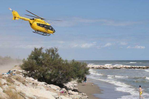 L'elicottero del 118 (foto Zani)
