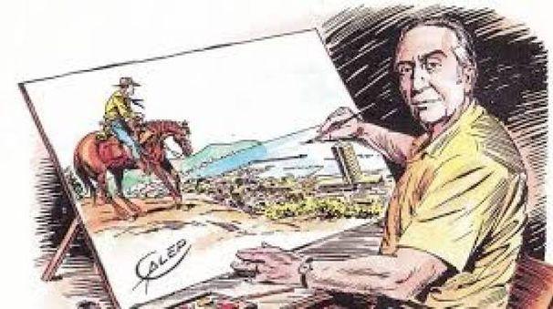 Un autoritratto di Galep con il suo Tex