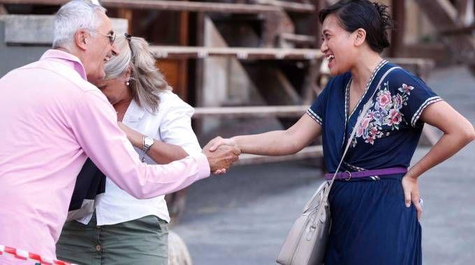 Tantra stringe la mano a Castagnini (foto Lazzeroni)