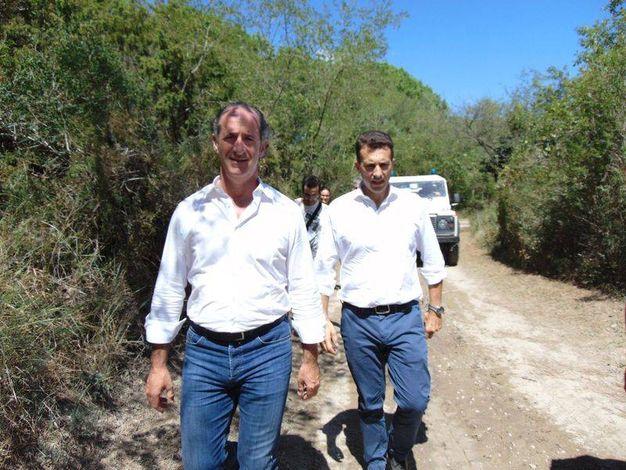 Luca Zaia in visita al giardino botanico di Porto Caleri, ha chiesto lo stato di calamità (foto Barbara Braghin)