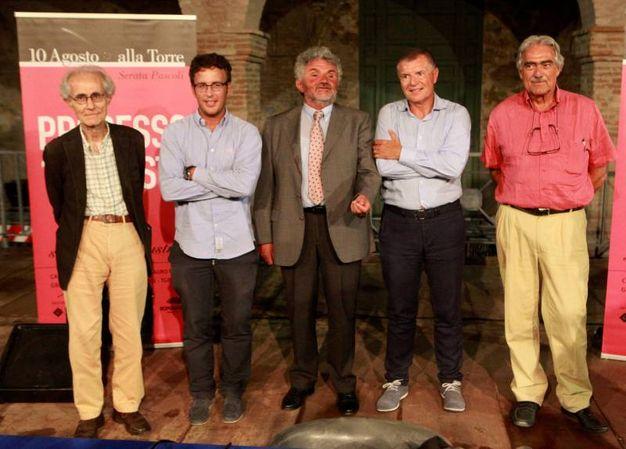 I protagonisti: Marcello Flores e Maurizio Ridolfi per l'accusa; Luciano Canfora e Diego Fusaro per la difesa (foto Ravaglia)