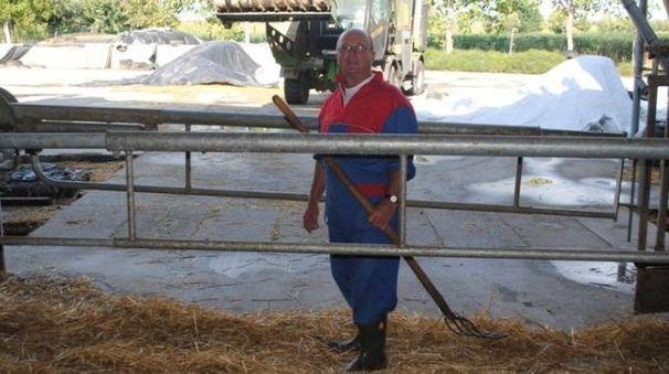 Claudio Targa nella sua stalla