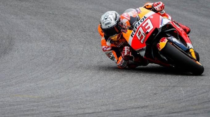 Marc Marquez in azione in Austria (Afp)