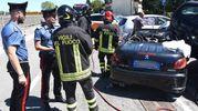 Anche vigili del fuoco, carabinieri e polizia municipale sono arrivati sul posto (Foto Migliorini)