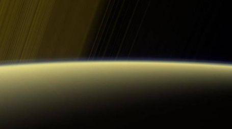 L'atmosfera di Saturno in una foto diffusa dalla Nasa (Ansa)