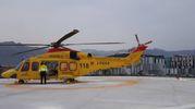 L'elicottero «Pegaso» nella piazzola davanti all'ospedale