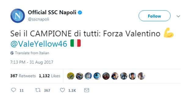 Il Napoli (da Twitter)