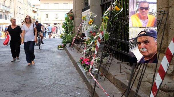 Il luogo della tragedia e le due vittime. Sopra Eugenio Viviani, sotto Antonio Pellegrini