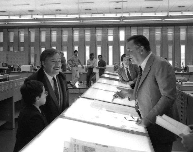 Una scena di 'Amici miei' girata a La Nazione il 5 maggio 1982 (Pressphoto)