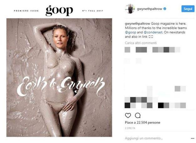 Gwyneth Paltrow sulla copartina del suo novo magazine (foto Instagram)
