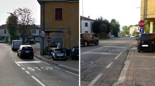L'incrocio prima e dopo (Foto Scardovi)
