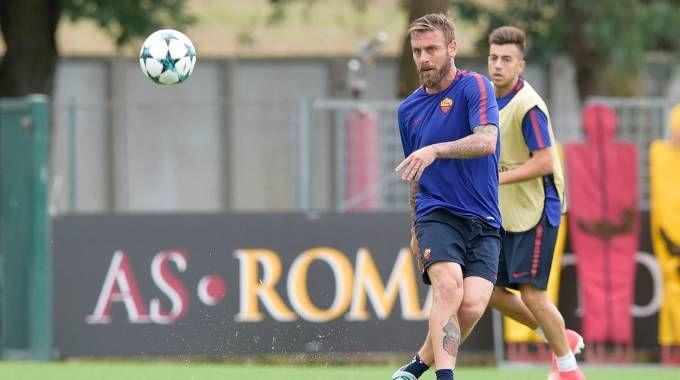 Roma-Atletico Madrid, l'allenamento dei giallorossi a Trigoria (LaPresse)