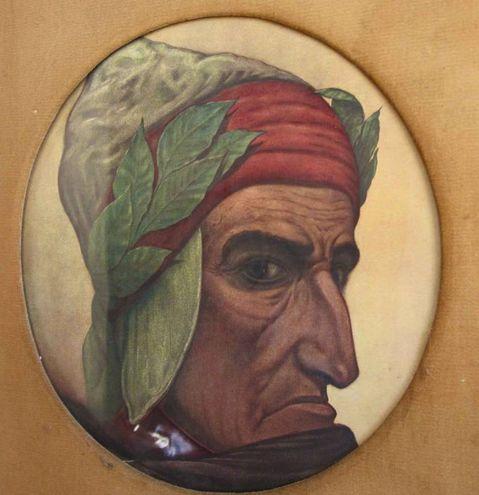 Il ritratto di Dante alla mostra 'Visioni dantesche' di Aristide Foà