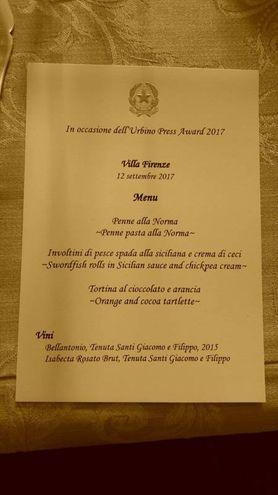 Il menù del pranzo nella Residenza dell'Ambasciatore d'Italia