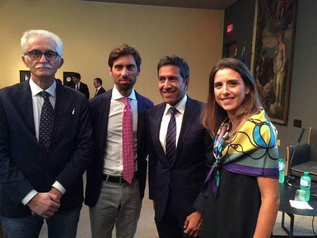 Da sinistra, Giuseppe Rossi, Alberto Bruscoli, il dr Gupta, Marianna Bruscoli