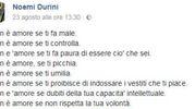 L'ultimo post di Noemi Durini su Facebook