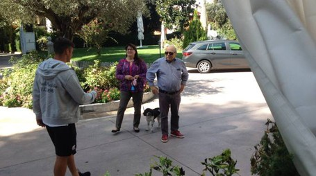 L'arrivo all'hotel Villa Pigna del presidente Francesco Bellini e di sua moglie Marisa