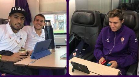 Maxi Olivera, Cristoforo e Chiesa sul treno perTorino (dall'Instagram della Fiorentina)
