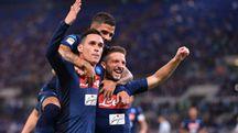 La gioia dei giocatori del Napoli (Lapresse)