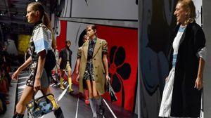 Miuccia Prada presenta la collezione estate 2018 alla Milano Fashion Week (Ansa)