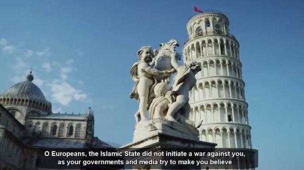La Torre di Pisa nel fotogramma di apertura del video dell'Isis