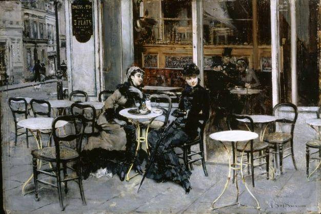 Conversazione al caffè, 1879, olio su tavola