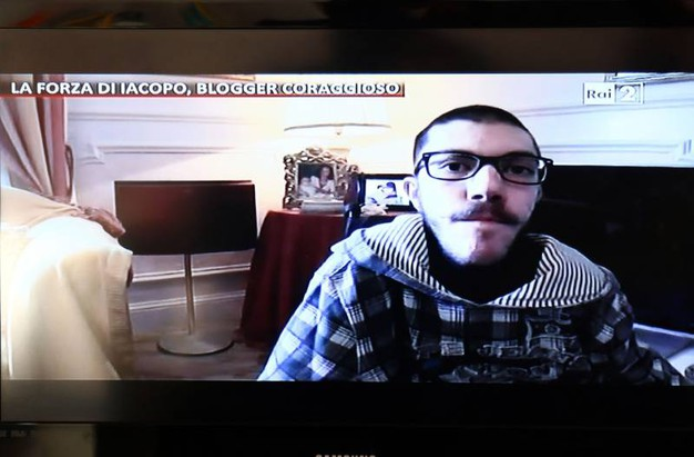 Iacopo Melio in collegamento dalla sua abitazione con 'Quelli che il Calcio' (Gianni Nucci/Fotocronache Germogli)