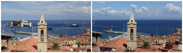 Prima e dopo la partenza della Costa Concordia dall'Isola del Giglio (foto REUTERS/Alessandro Bianchi)