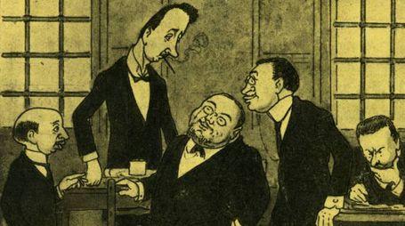 Immagini storiche del 'Carlino': i quattro fondatori in una vignetta di Nasìca (Augusto Majani)