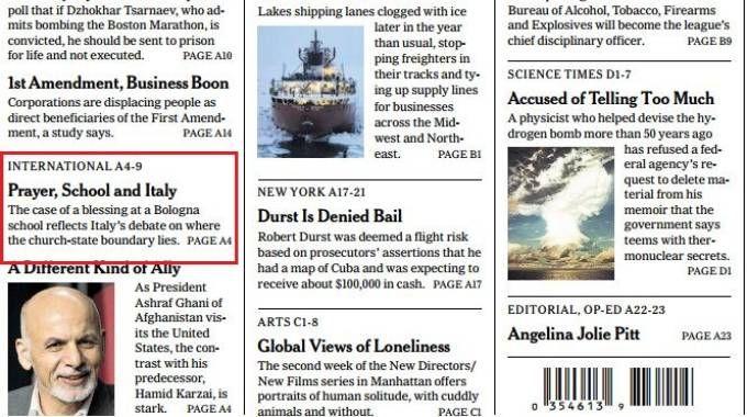 L'articolo apparso sul New York Times