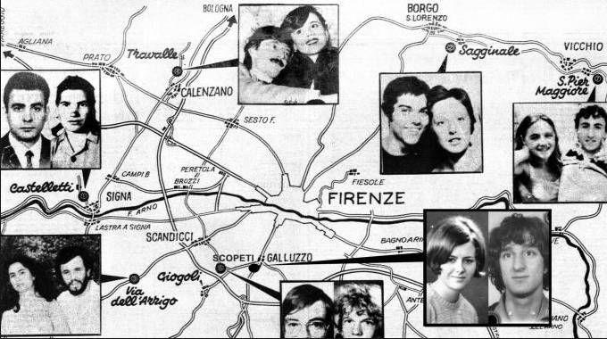 La cartina con i luoghi dei delitti del Mostro di Firenze