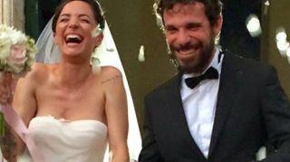 Matrimonio blindato a Roma per Andrea Delogu e Francesco Montanari(LaPresse)