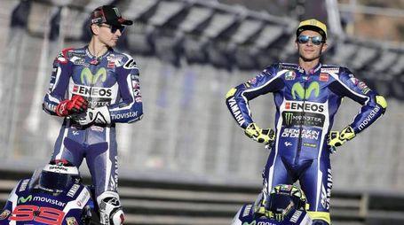 Jorge Lorenzo e Valentino Rossi (Ansa)