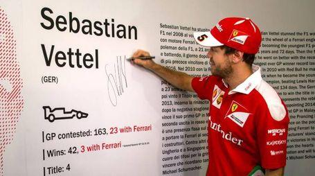 Vettel al Museo Ferrari di Maranello (Ansa)