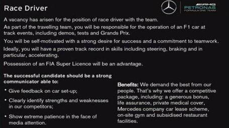 L'annuncio della scuderia Mercedes AMG F1