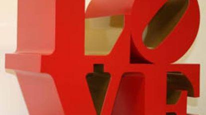 Robert Indiana Love  1966-1999  Scultura, alluminio policromo (red and gold)
