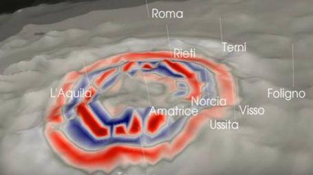 La propagazione delle onde del sisma di magnitudo 5.5, con epicentro a Capitignano (Aq)