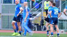 Alcuni giocatori azzurri durante l'ultima sfida con l'Irlanda