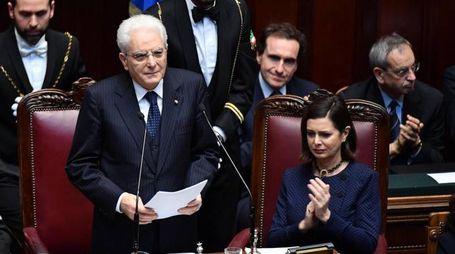 Il presidente della Repubblica a Montecitorio per i 60 anni dei Trattati di Roma (Ansa)