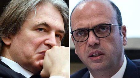 Il dg della Rai Antonio Campo Dall'Orto e il ministro degli Esteri Angelino Alfano (Ansa)