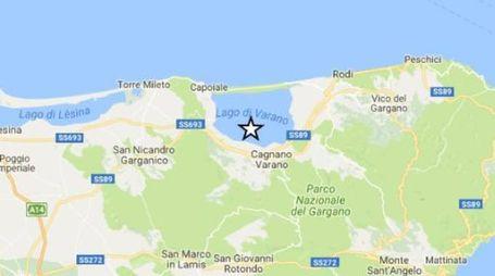 L'epicentro del terremoto nel Gargano