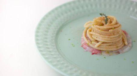 Spaghetti bottarga e scampi